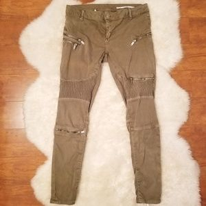 NWOT Zara Olive Slim Fit Pants With Zippers Sz 6